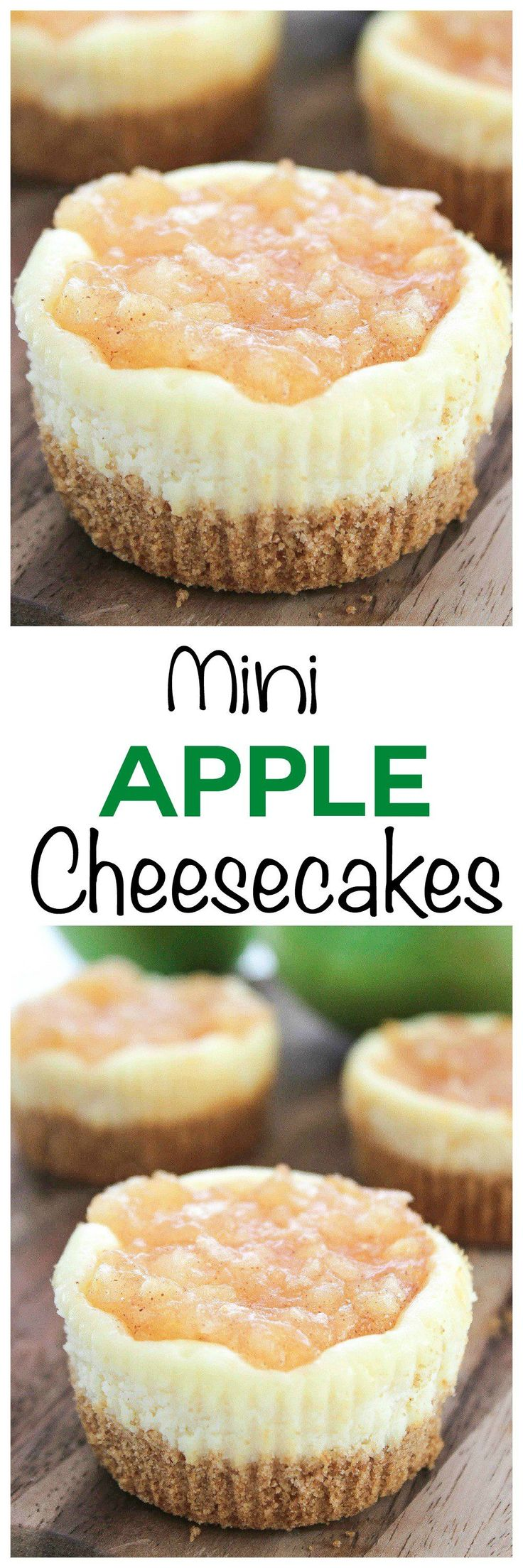 Apple Pie Mini Cheesecake Bites: Smooth and creamy cheesecake topped with tart apples. This hand held cheesecake is ready in under 30 minutes, so easy!