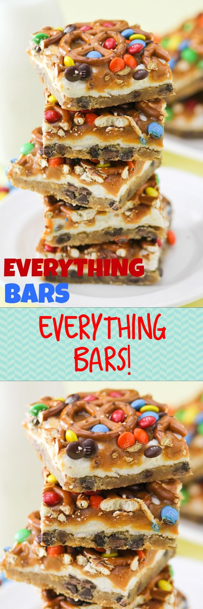 Everything Bars! I make these for almost every birthday and sleepover! Layers of chocolate chip cookie, marshmallow, caramel, pretzels and m&ms. SO incredibly easy and they taste AMAZING! Pretty and colorful, too!