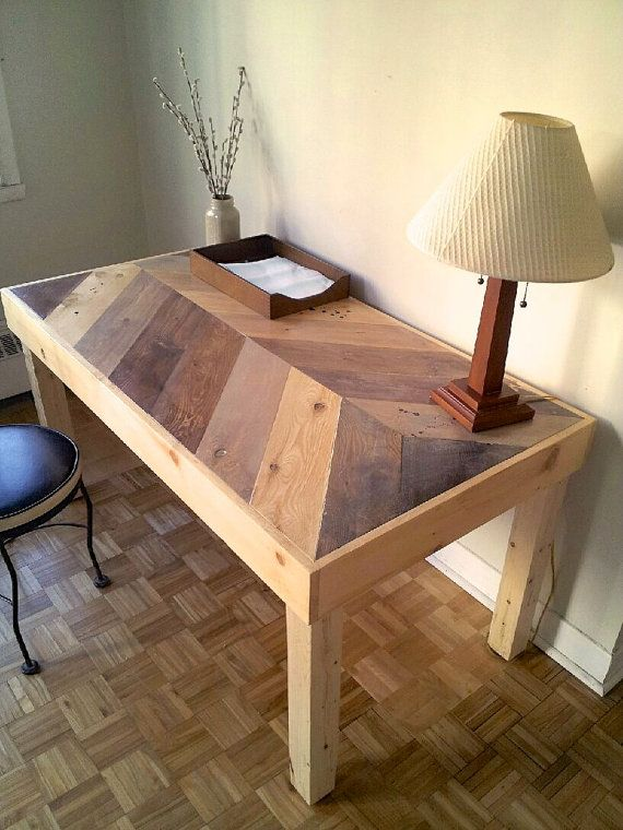 Herringbone Wood Desk, chevron desk, handmade desk, office desk, rustic