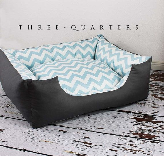 Dog bed pattern zig zag light blue white gray by ThreeQuartersPets