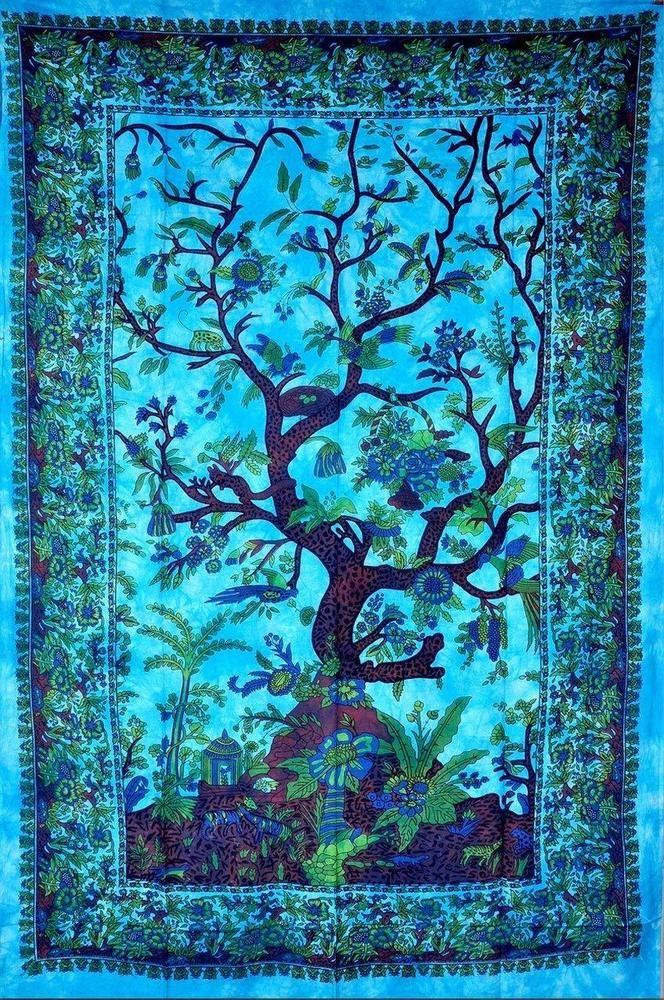 Tree Of Life Mandala Tapestry Wall Hanging Hippie Urban Throw Cotton Bedspread