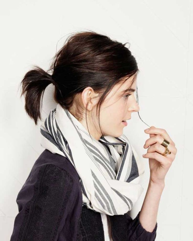 brunette, short hair. Pony tail pairs nicely with a scarf. Good summer style too.