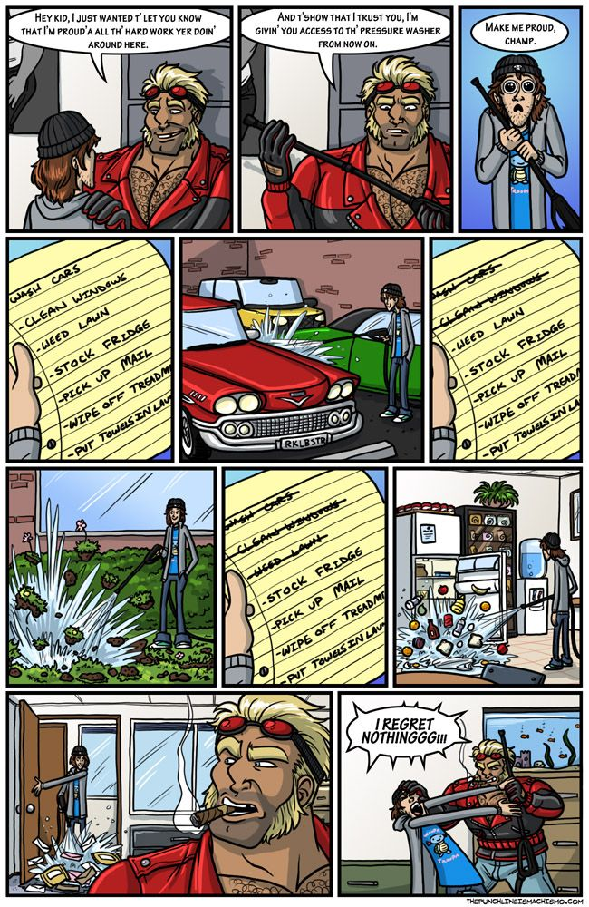 Great Power, Great Responsibility, Comes With, Etc. The punchline is machismo Funny Comic