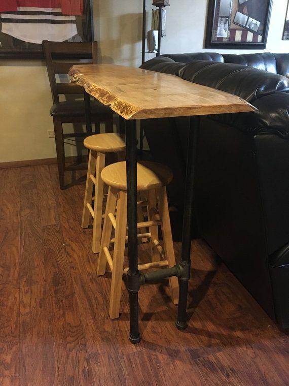 bar table with live edge maple wood bar height sofa table natural rh pinterest ca