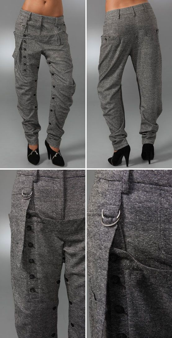 "WANT IT :: L.A.M.B. Tweed Harem Pants : $ 275 | shopbop.com :: [11.5"" rise. 31"" inseam] Tweed shell (wool, silk, nylon, raon, viscose) & modal lining (poly, cotton) :: Slouchy tweed pants featuring belt loops, multiple buttons & a D-ring strap at the front overlay. Slant hip pockets & button-welt back pockets. Double hook-and-eye closure. Jersey lining to knee. :: LOVE LOVE love these pants. Too bad they're sold out! 