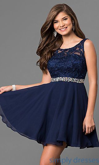 Shop short lace-bodice party dresses at Simply Dresses. Cheap semi-formal dresses with v-backs, jeweled waists and chiffon skirts for homecoming.
