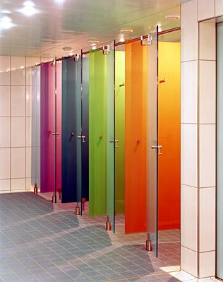 Astec glass, at first i thought these were bathroom stall doors painted.  But wouldn't it be great if bathroom doors WERE painted like this?  Especially in public schools?