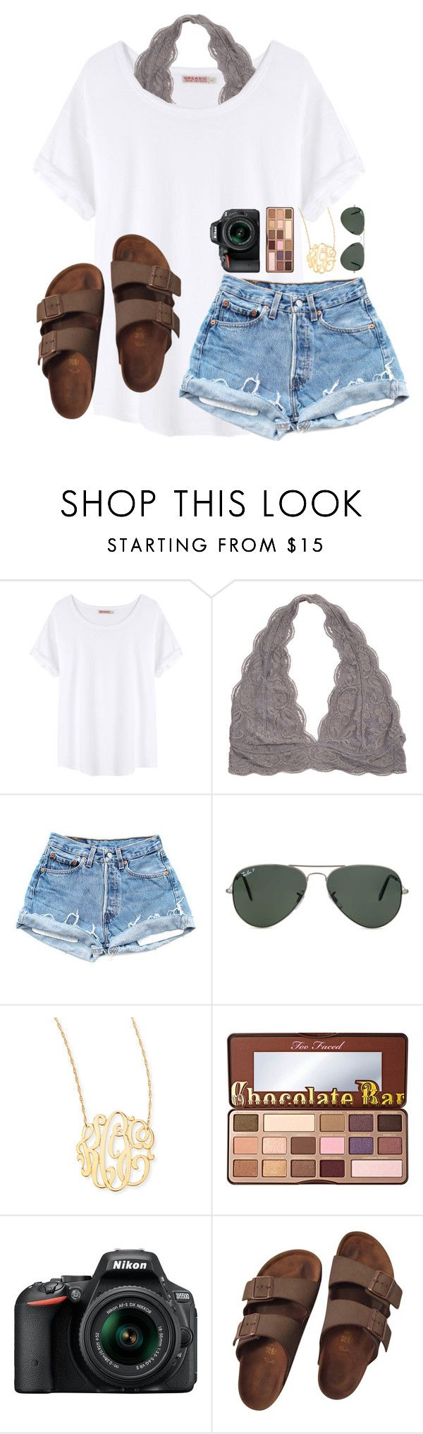 """""""11:55pm, May 10th 2016"""" by preppy-southern-gals ❤ liked on Polyvore featuring Organic by John Patrick, Ray-Ban, Jennifer Zeuner, Too Faced Cosmetics, Nikon and Birkenstock"""