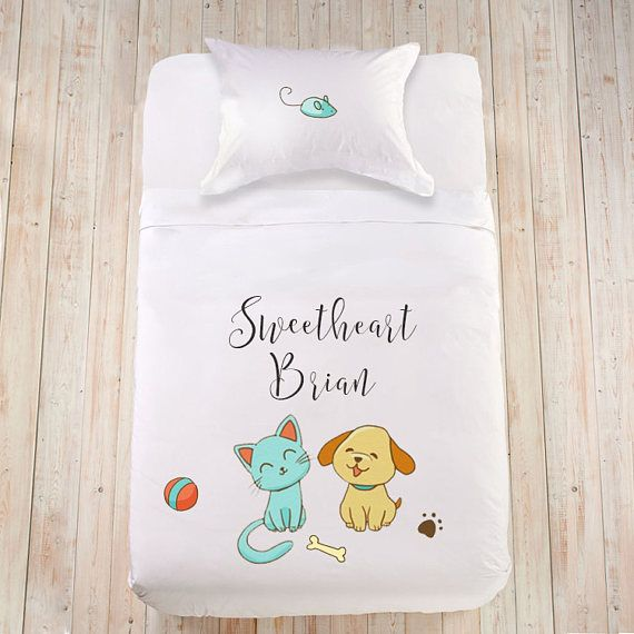 Children bedding set Cat lover bedding Dog lover bedding Kids duvet set Cute bedding set Toddler duvet cover Animal illustration duvet cover  Adorable little pet lovers bedding set for your sweetheart! Wonderful little touch for your childs bedroom and most peaceful sleep! Each
