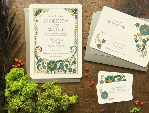 ART DECO WEDDING SAVE THE DATE INVITATIONS Announce your day with drama and color with this art deco floral design! These save the date invitations are