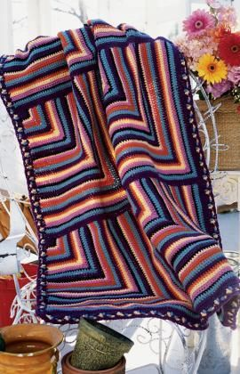 Fiesta Throw Free Crochet Pattern from Red Heart Yarns.