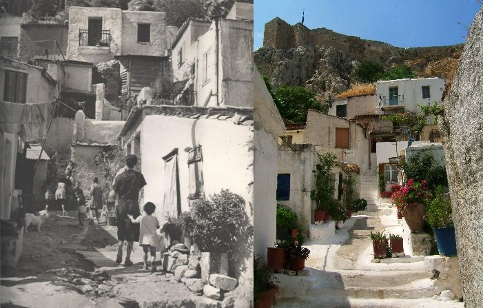 Anafiotika, under Acropolis, now and then