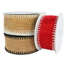 Add a decorative touch this holiday season with this year's collection of Burlap Stitch Ribbons.