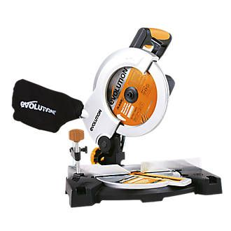 Evolution RAGE3B2101 210mm Compound Mitre Saw The 110V Evolution RAGE3B2102 compound mitre saw will cut through steel, aluminium, plastics and even nail-embedded wood. A choice of nine pre-set positive mitre stops make choosing your angle easy an http://www.MightGet.com/april-2017-1/evolution-rage3b2101-210mm-compound-mitre-saw.asp
