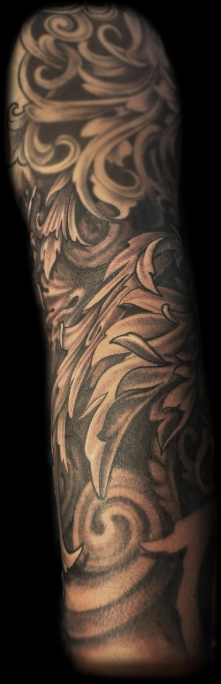 Maximilian Rothert - Black and grey fancy filigree sleeve tattoo #tattoo