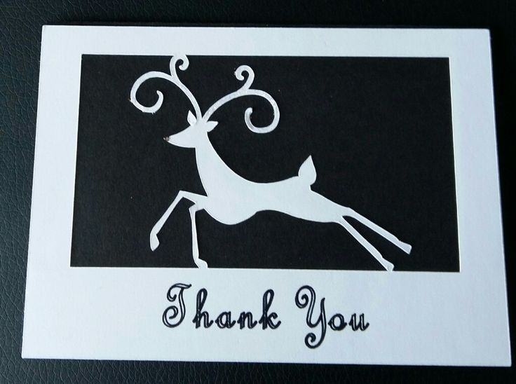 Thank ypu card. Prancing reindeer adorns the front.