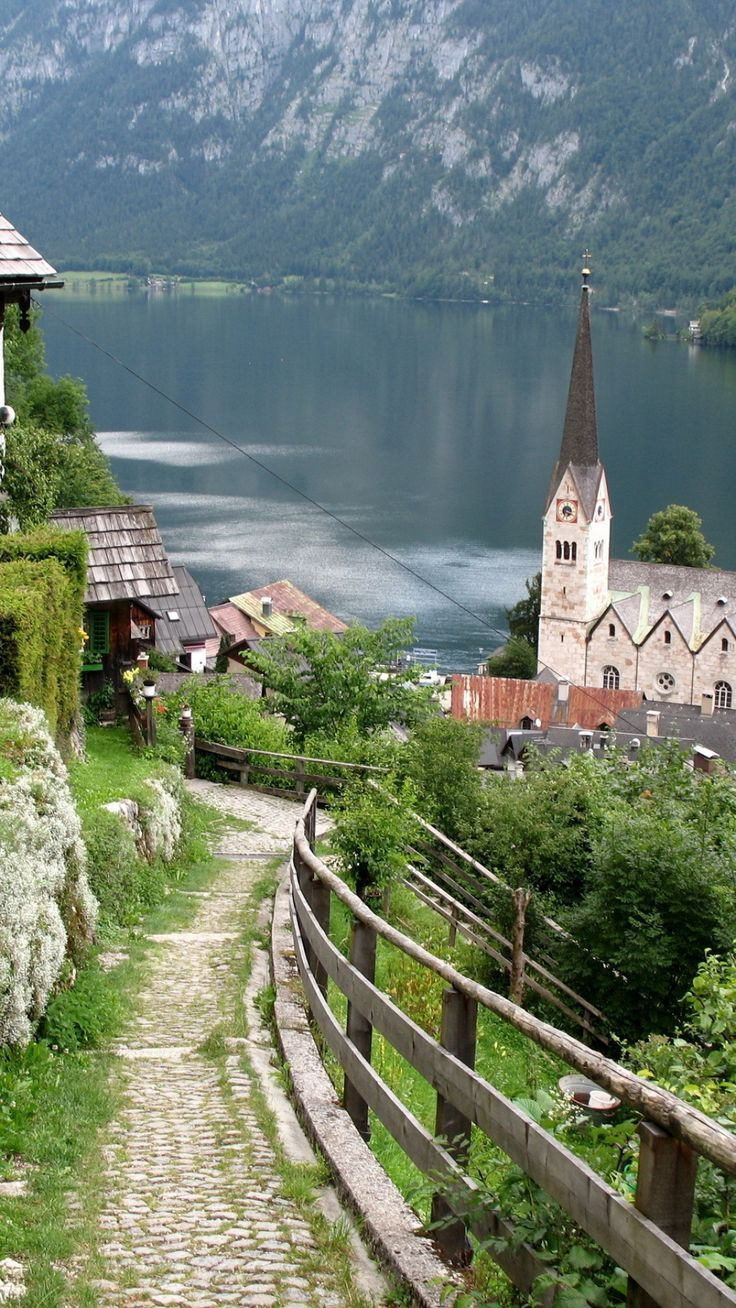 awesome austria, lake, home, structures, mountains...