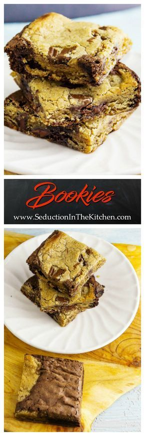 Bookies or as they are better known as chocolate chip cookie brownies are the best of two worlds. It is part chocolate chip cookie and part fudge brownie and it is sinfully delicious. | Seduction In The Kitchen #chocolatechip #cookie #brownies #bookies #chocolate #dessert #recipes #chocolatechipcookies via @SeductionRecipe