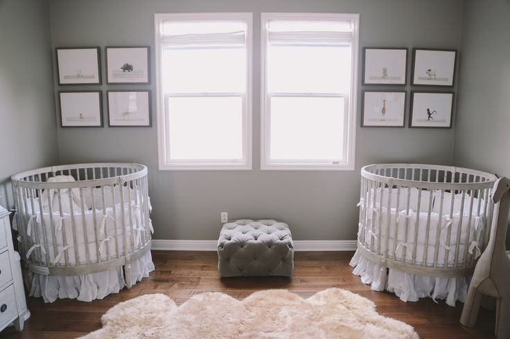 Serene Grey & White Twin Nursery with Stokke Sleepi Cribs | The Frosted Petticoat