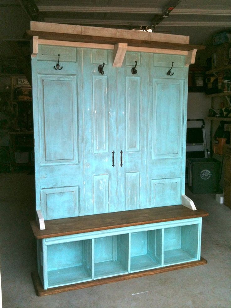 of old closet doors, and old butcher block kitchen table, old kitchen ...
