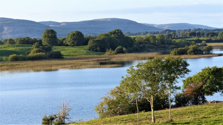 Co Clare: the hills of the Burren, behind Lough George.