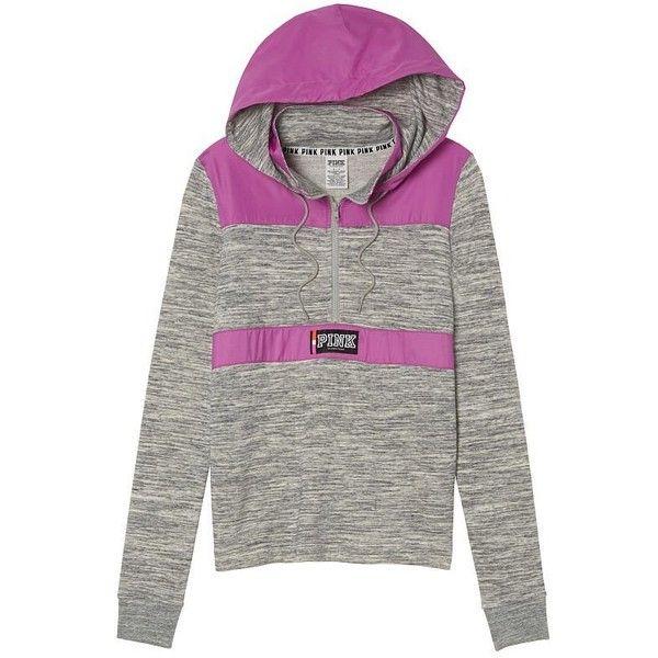 VICTORIA'S SECRET Pink Perfect Fleece Anorak Lined Half Zip Hoodie... ($70) ❤ liked on Polyvore featuring tops, hoodies, gray hoodie, victoria secret pink hoodie, marled hoodie, half zip hooded sweatshirt and grey top