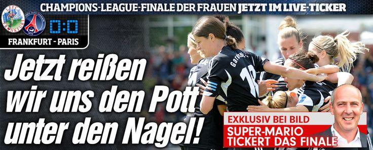 Frankfurt gegen Paris jetzt im BILD.de-Live-Ticker http://www.bild.de/sport/fussball/frauen-fussball/champions-league-im-live-ticker-40951426.bild.html