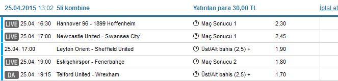 223 - Hannover 96 - Hoffenheim @ 1 2.1 230 - Newcastle United - Swansea City @ 1 1.9 247 - Leyton Orient - Sheffield United @ ÜST 1.65 314 - Eskişehirspor - Fenerbahçe @ 2 1.5 323 - AFC Telford United - Wrexham @ ÜST 1.5