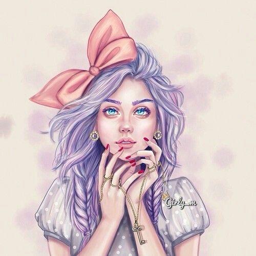 Art beautiful drawing girl pink dibujos pinterest for Girly tumblr drawings