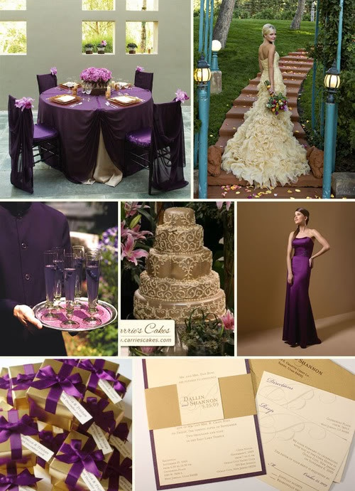 purple and gold decor and drink ideas