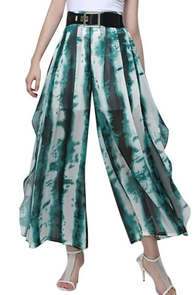 Stripe Print Wide Leg Chiffon Pants