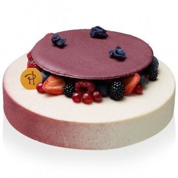 Tender biscuit with almonds, blackcurrant compote, vanilla mascarpone cream with violet.