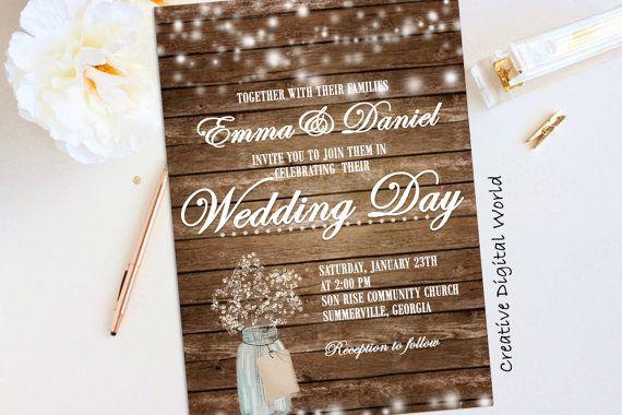 Rustic Wedding Invitation Printable String by CreativeDigitalWorld
