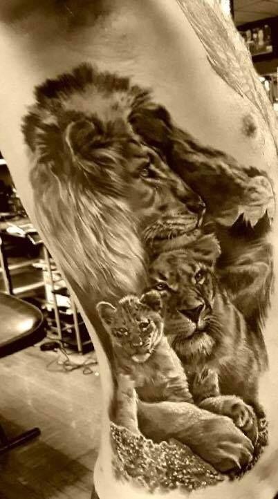 f7ce5eb49 Realistic Black and Grey Lion Pride Tattoo || Evolution Ink Studio ||  Fayetteville, NC || Artist: Markos