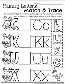 Preschool Letter Match and Trace Worksheets for April II.