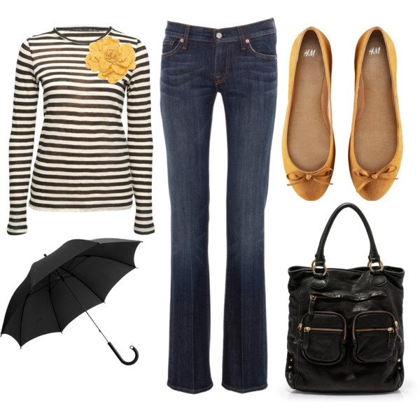 Navy and yellow!: Yellow Flowers, Flower Pin, Yellow Flats, Style, Casual, Outfit, Stripes, Yellow Accents