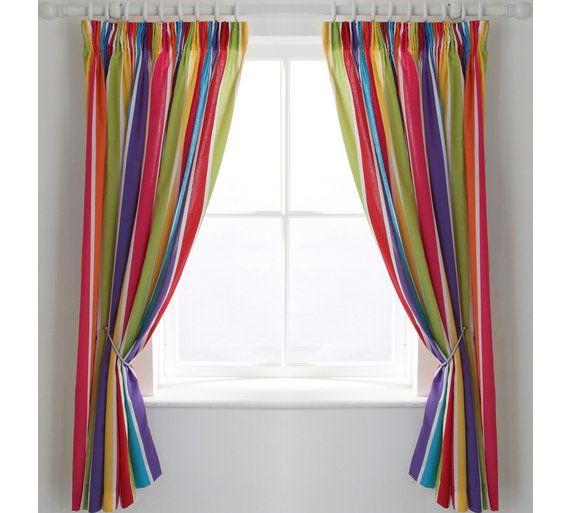 Buy ColourMatch Kids' Stripe Blackout Curtains - 168 x 137cm at Argos.co.uk, visit Argos.co.uk to shop online for Curtains, Blinds, curtains and accessories, Home furnishings, Home and garden