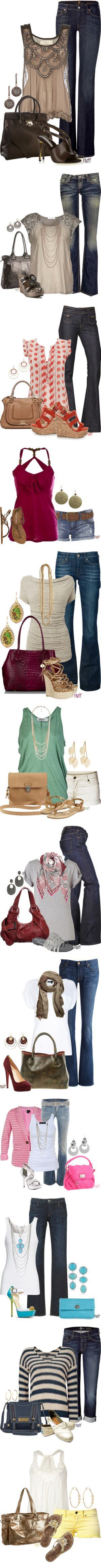 I really like the 1920's glam of the tops paired with modern casual jeans.