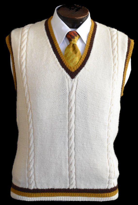 Vintage 70s Mens Tennis Sweater Vest Sweater Vest Mens Sweater Vest Outfit Sweater Vest