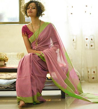 Cotton Sarees - When Colours Sing With Threads- A Pretty Rose Fell For Emerald By SuTa PC 20151 - Thumbnail