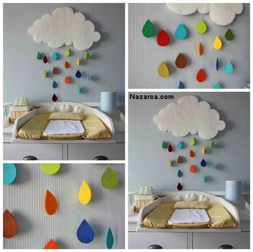 Bulut Mobili Nelerden Yapılır? Bulut ve Yağmur damlası kumaş çalışmaları- Bebek Odası Dekorasyonu Keçe İşleri Son zamanlarda Bebek odalarını Dekore ederken Bulut ve Yağmur damlalarından mobillerle …