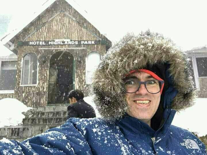 Omar Abdullah taking a selfie during fresh snowfall at Gulmarg.......