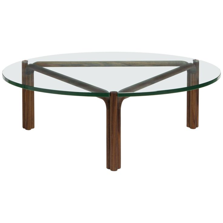 CA35G Contemporary Handcrafted Minimalist Modern Round Glass Coffee Table