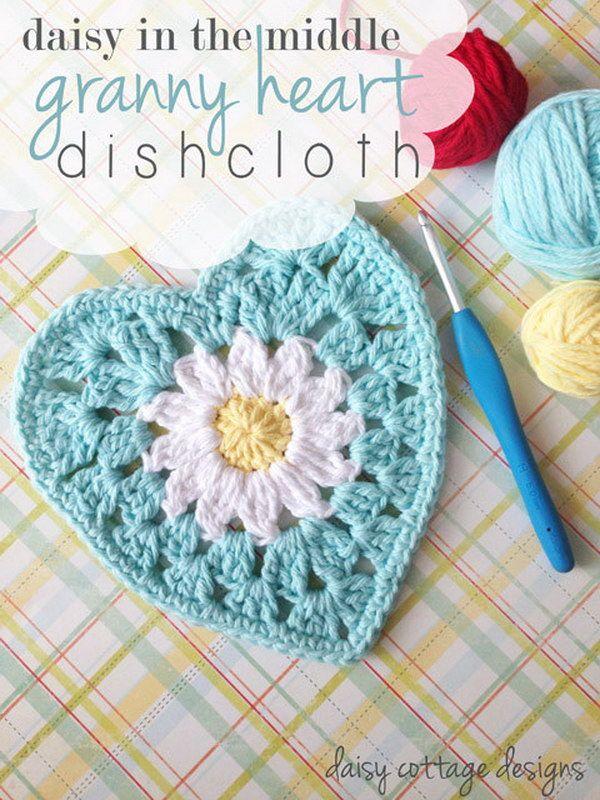 Crochet Daisy Heart Dishcloth.