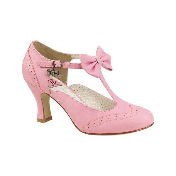 Women's Pin Up Couture Flapper 11 T-Strap Mary Jane ($57) ❤ liked on Polyvore featuring shoes, pink, casual, heels, pink high heel shoes, bow shoes, gatsby shoes, pink mary jane shoes and mary-jane shoes