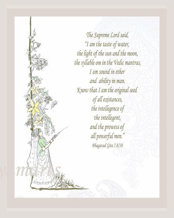 Art illustration, line drawing, inspirtional Bhagavad Gita quote, devotional, sun and moon, gopis