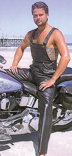 Biker Leather Bib Overalls @corinasfrye   I found Craigs bike wear!!  ;)