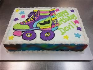 """Roller skate Cake- thought it said """"Happy Birthday Devil"""""""