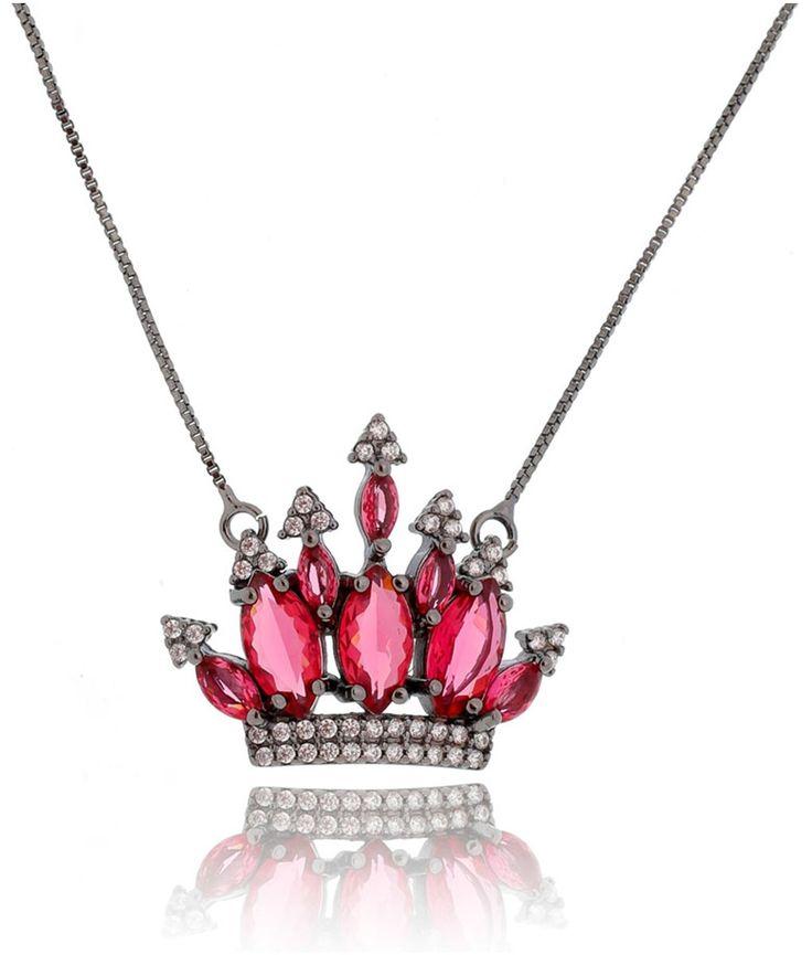 Colar luxury collection de coroa rubi rodio negro semijoia
