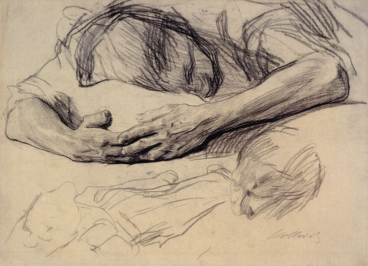 Käthe Kollwitz (1867 - 1945), Grieving Mother, 1903; black chalk and graphite on greenish wove paper.